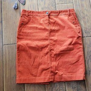 J. Crew Orange Corduroy Skirt